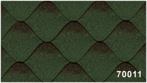 Битумная черепица Kerabit Волна зелено-черного цвета, форма S