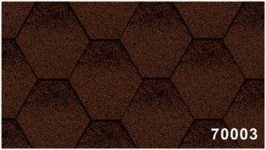 Битумная черепица Kerabit Тройка (соты с тенью) коричнево-черного цвета, форма К