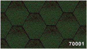 Битумная черепица Kerabit Тройка (соты с тенью) зелено-черного цвета, форма К