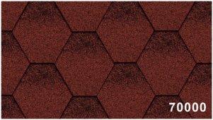 Битумная черепица Kerabit Тройка (соты с тенью) красно-черного цвета, форма К