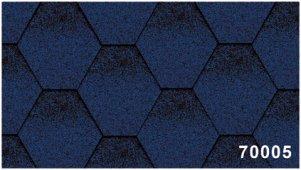 Битумная черепица Kerabit Тройка (соты с тенью) синего цвета, форма К