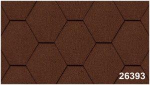 Битумная черепица Kerabit Тройка (соты однотон.) коричневого цвета, форма К