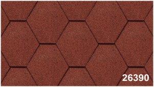 Битумная черепица Kerabit Тройка (соты однотон.) красного цвета, форма К