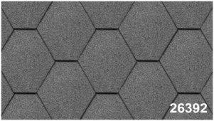 Битумная черепица Kerabit Тройка (соты однотон.) серого цвета, форма К